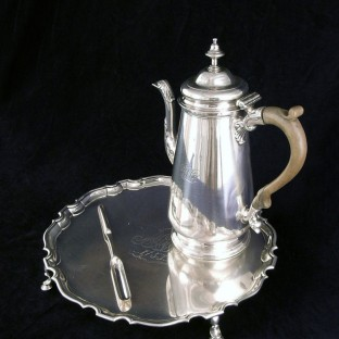 Alexander Petrie Coffeepot, Salver, and Marrow Scoop, Charleston