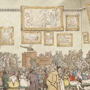 Thomas Rowlandson (British 1756-1827) etching and aquatint, The Sales Room at Christie's