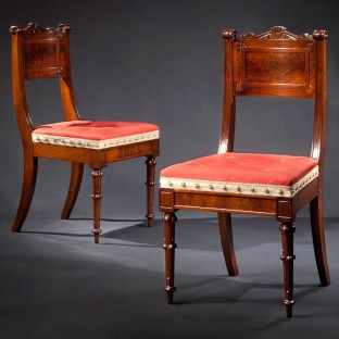 Pair of walnut and mahogany dining chairs, attributed to Richard Parkin