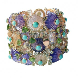 Bracelet, Citrine, Peridot, Turquoise and Amethyst in 18K Gold