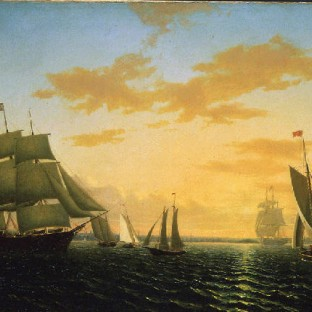 """New Bedford Harbor at Sunset,"" 1858 by William Bradford"