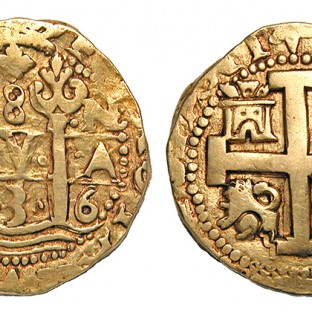 "This Spanish colonial gold ""doubloon"" was struck in Lima, Peru, and was worth about 15 or 16 dollars."
