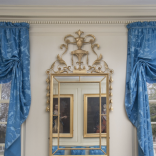 Newly recreated looking glass in Mount Vernon's Front Parlor