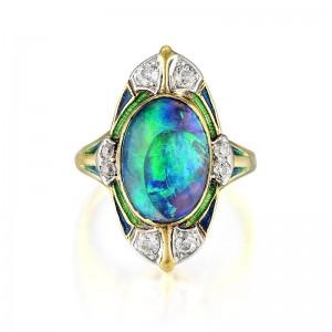 Louis Comfort Tiffany Black Opal Ring