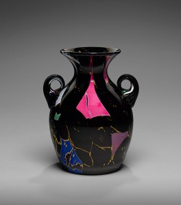 Frederick S. Shirley designer, Mount Washington Glass Company  manufacturer, Sicilian Vase, South Boston, 1878–80. Blown lead glass with fused lead glass and gilding