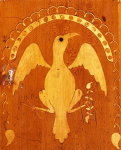 Eagle Inlay from the Prospect Door of a Desk, East Tennessee, ca. 1810. Private Collection.