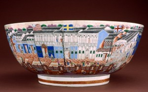 "Punch bowl decorated with foreign factories or ""hongs"""