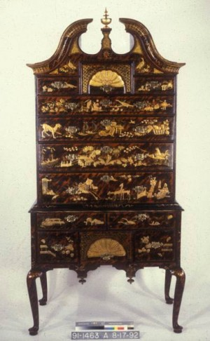 Boston japanned high chest 1735-40