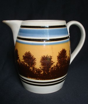 English Mocha Jug ca. 1830 with dendritic landscape decoration