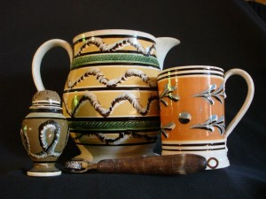 English mocha pepper pot, large jug, and mug