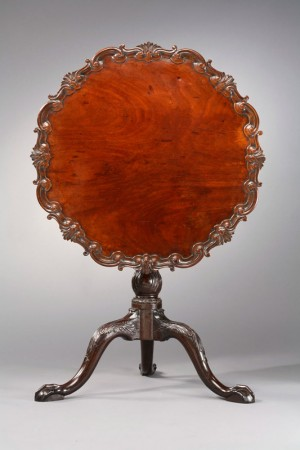 Mahogany and cherry tea table, attributed Robert Walker (ca. 1710-1777)