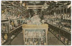 Postcard depicting the interior of Ephraim Offner's store