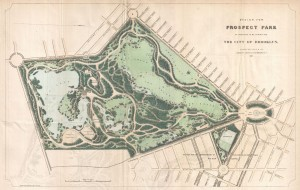 The 1868 proposal drawing for Prospect Park, Brooklyn, by Olmsted Vaux & Co.