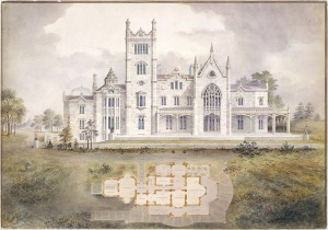 West (rear) elevation and plan of Lyndhurst for George Merritt, Tarrytown, NY