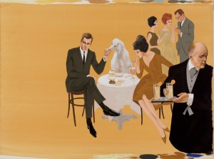Summer Cocktail Party with English Butler, 1961, by Larry Salk