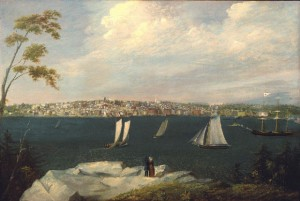 """View of New Bedford from Fairhaven,"" circa 1848 by William Allen Wall"