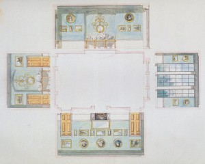 Latrobe drawings of dining room for a house for the Tayloe family