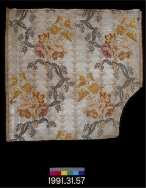 Silk with metallic fibers, 1743-1770.