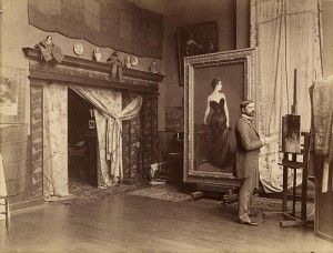 John Singer Sargent in his studio in Paris