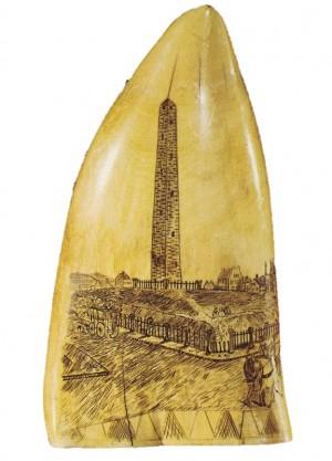 Scrimshaw portrait of the Bunker Hill Monument in Charlestown, Massachusetts