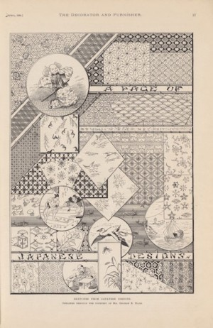 "Japanese design motifs illustrated in ""Decorator and Furnisher"""
