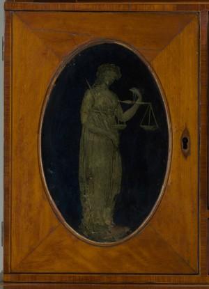 Lady's writing desk detail, Baltimore, ca. 1795–1810
