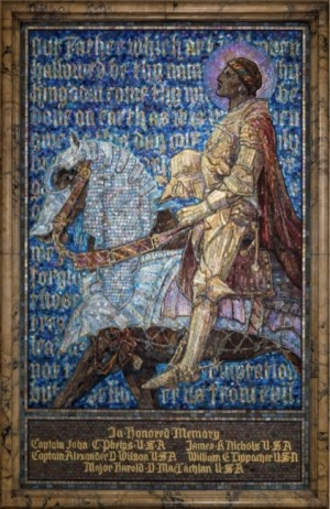 Panel, The Prayer of the Christian Soldier, 1919.  Tiffany Studios