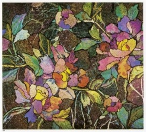 Mosaic panel with peonies, about 1900–1910. Tiffany Glass and Decorating Company