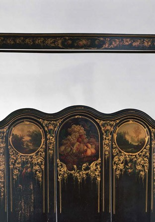 Painted bedstead with canopy, circa 1855, painted by Thomas and Edward Hill