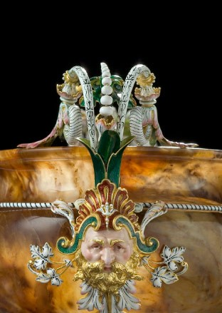 Coupe, ca. 1867, agate with gilded and enameled brass by Charles Duron